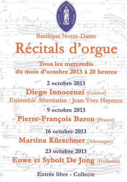 Concert orgue et voix à la basilique Notre-Dame de Genève