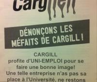 Cargill est la cible d'étudiants protestataires à Uni Mail