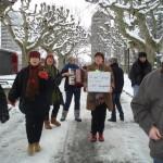 Dépôt de la pétition réclamant une guinguette à Carouge. © Maryelle Budry