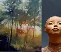 Aquarelles crépusculaires et sculptures voyageurs