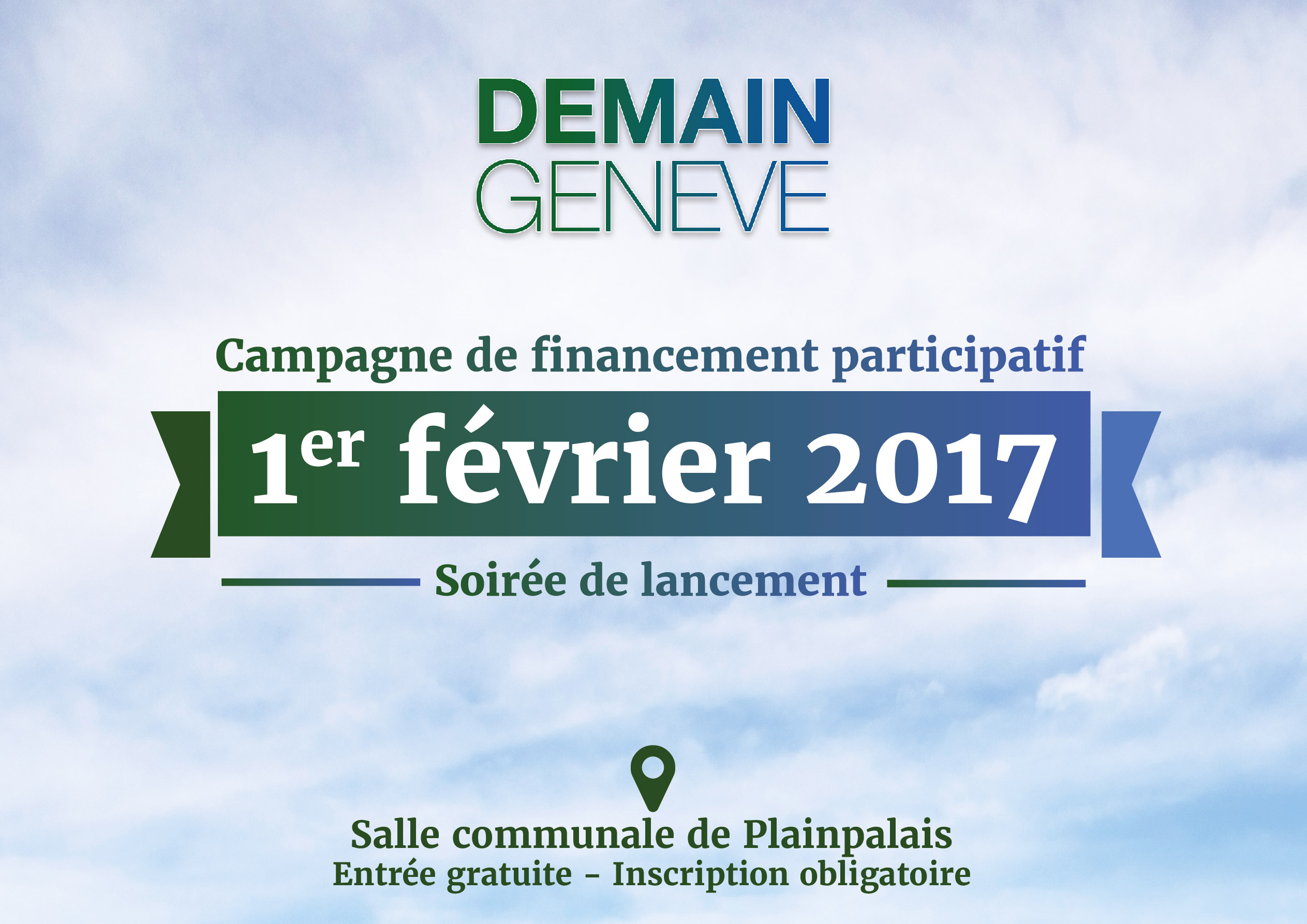 Soirée de lancement de la campagne de crowdfunding pour le film Demain Genève le 1er février 2017 à la Salle communale de Plainpalais