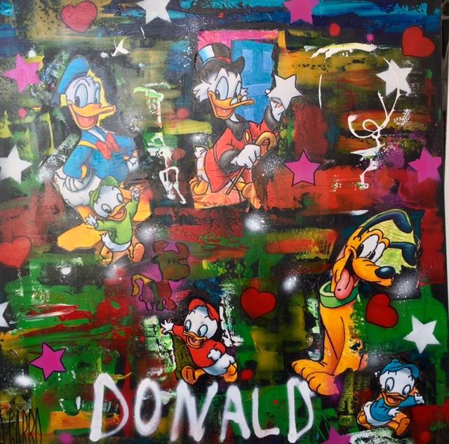 Donald et Cie  Technique mixte sur toile 100 x 100 cm Angelo Garbo