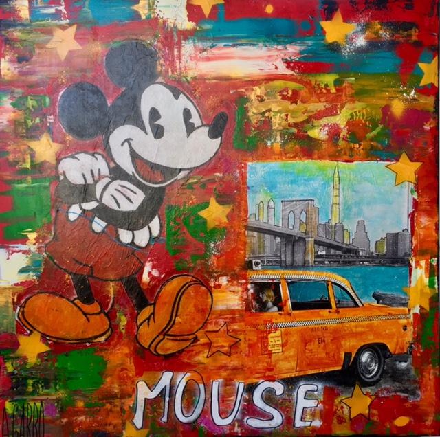 Mickey à New York II Technique mixte sur toile 100 x 100 cm Angelo Garbo