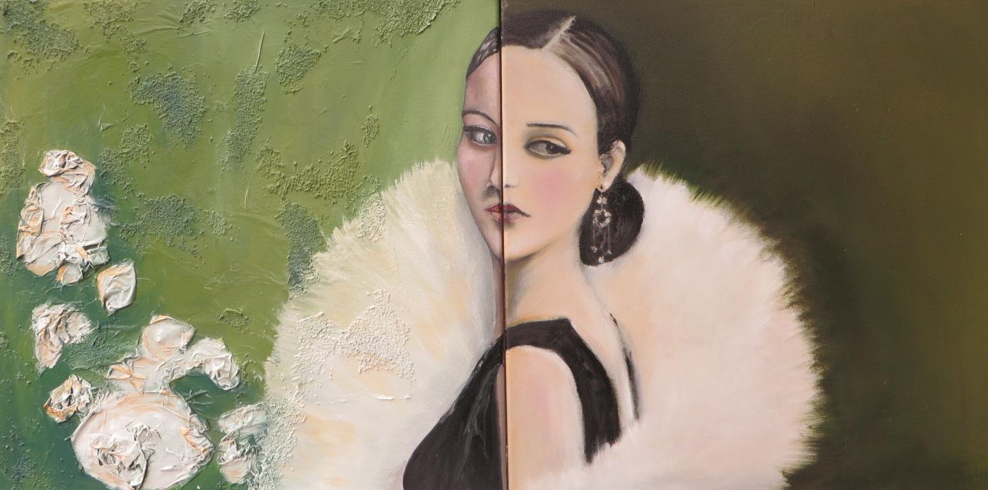 Olive  Huile sur papier de soie et sable sur toile 60 x 120 cm  Elena Cantoni et Florence Courvoisier