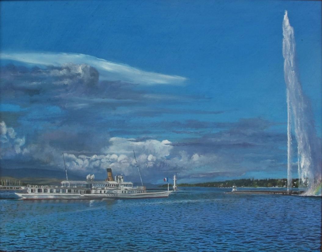 Bateau Vevey et le jet d'eau  Huile sur toile 28 x 36 cm (encadré 35 x 42 cm) Gisèle Bryers