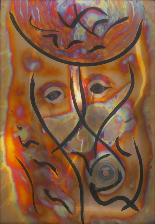 Femme au chapeau  Pyrogrammie sur cuivre  105 x 75 cm  Berolli