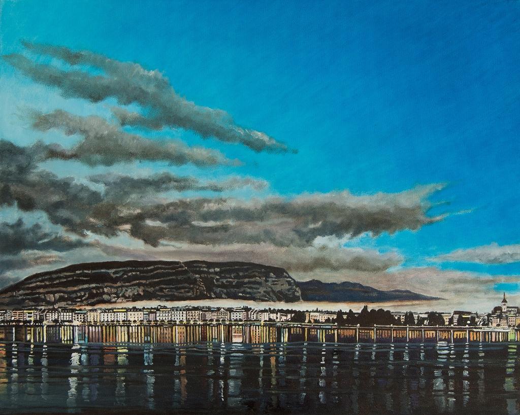 La rade de Genève et le Salève II Huile sur toile 2016 40,5 x 50,5 cm Gisèle Bryers