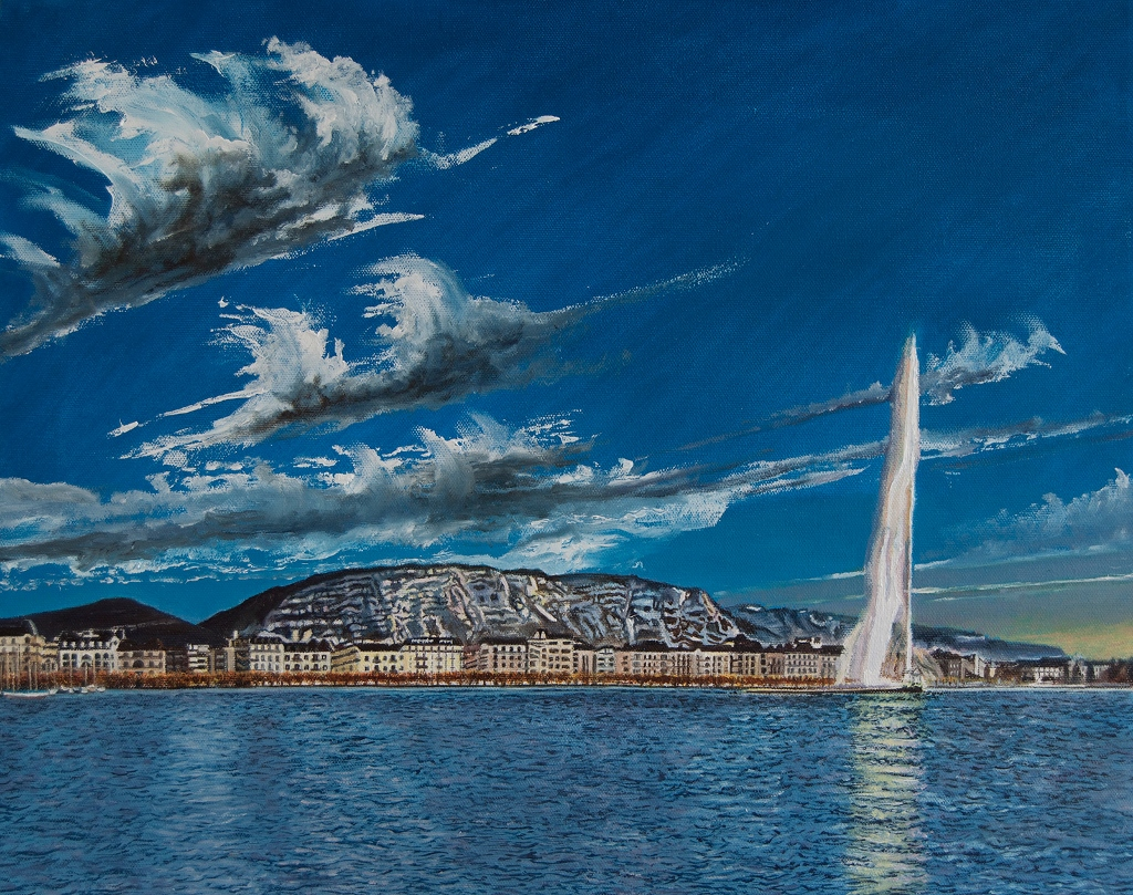 La rade de Genève et le jet d'eau Huile sur toile 40,5 x 50,5 cm Gisèle Bryers