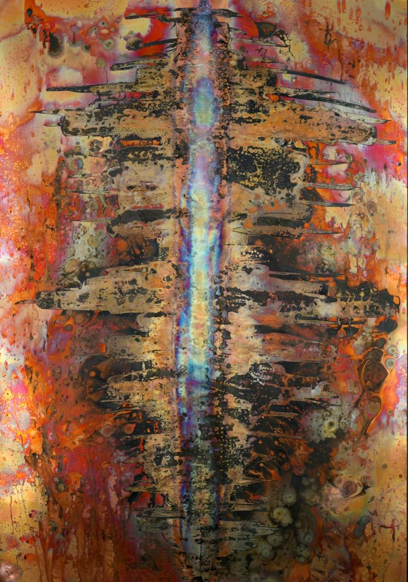 Ville imaginaire  Pyrogrammie sur cuivre  75 x 105 cm  Berolli