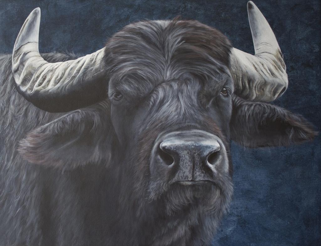 Buffle asiatique  Acrylique sur toile de lin  65 x 85 cm  Danielle WIcht