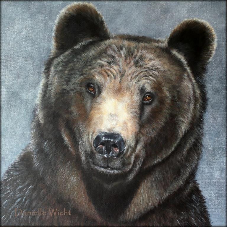 Georges (Ours brun)  Acrylique sur toile de lin 65 x 65 cm  Danielle Wicht