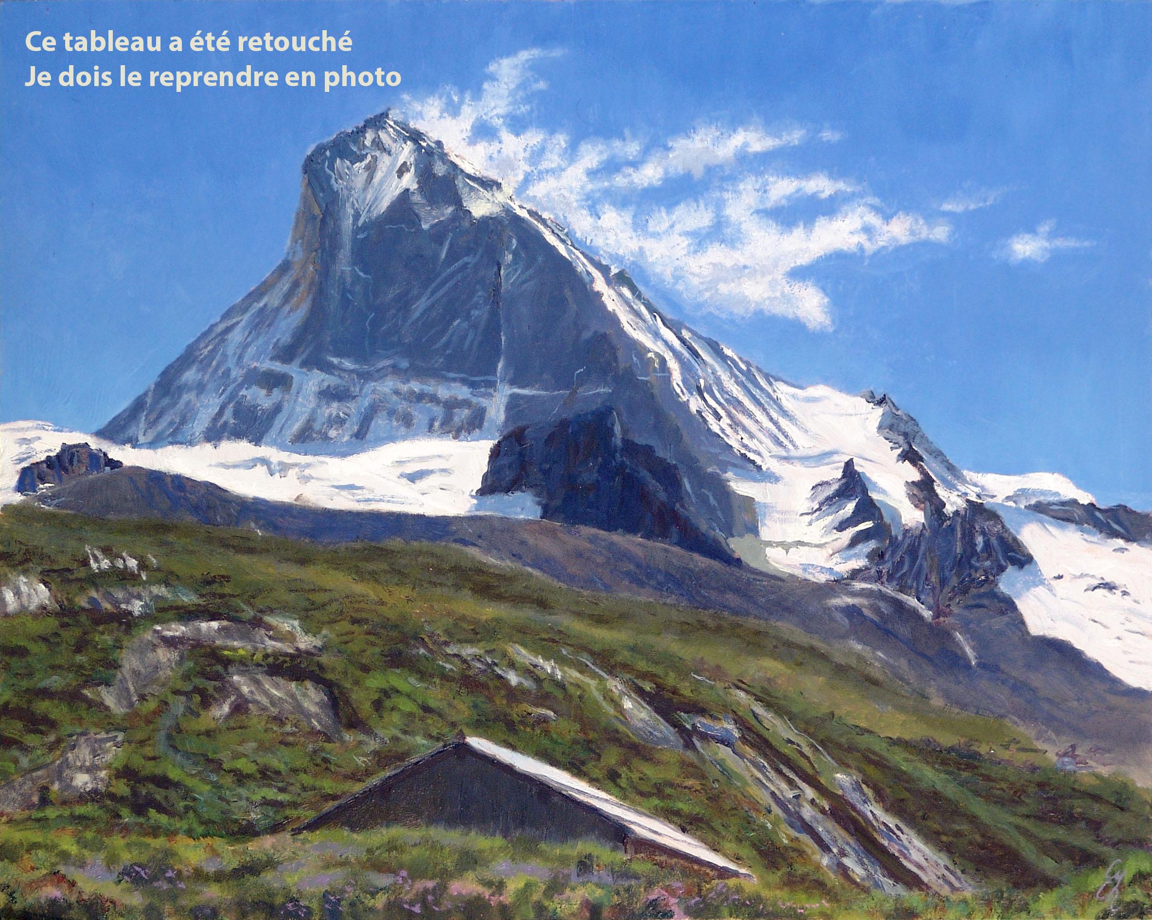La Dent Blanche depuis Bricola Huile sur panneau contreplaqué peuplier 40 x 50 cm Cyril de Chambrier