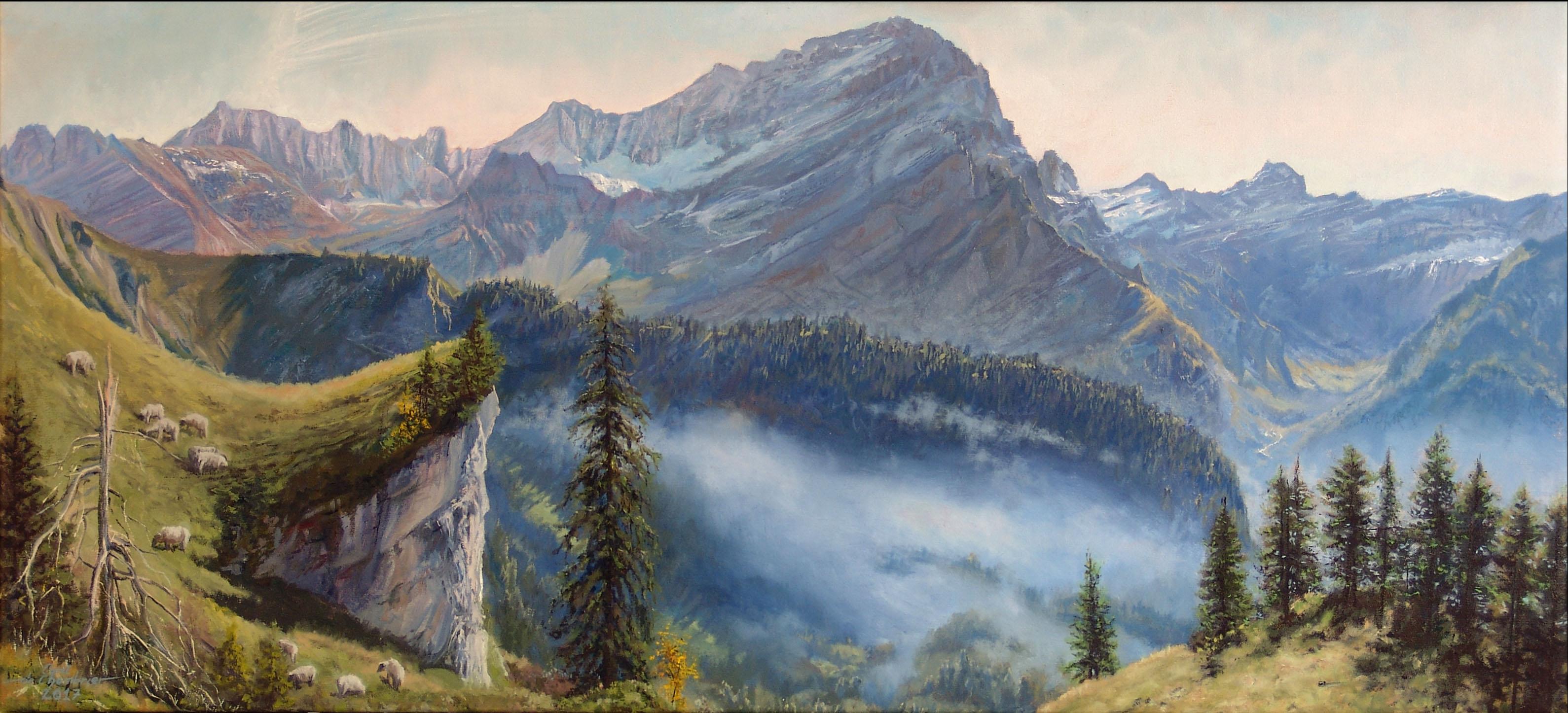 La chaîne des Muverans Huile sur toile 50 x 120 cm Cyril de Chambrier