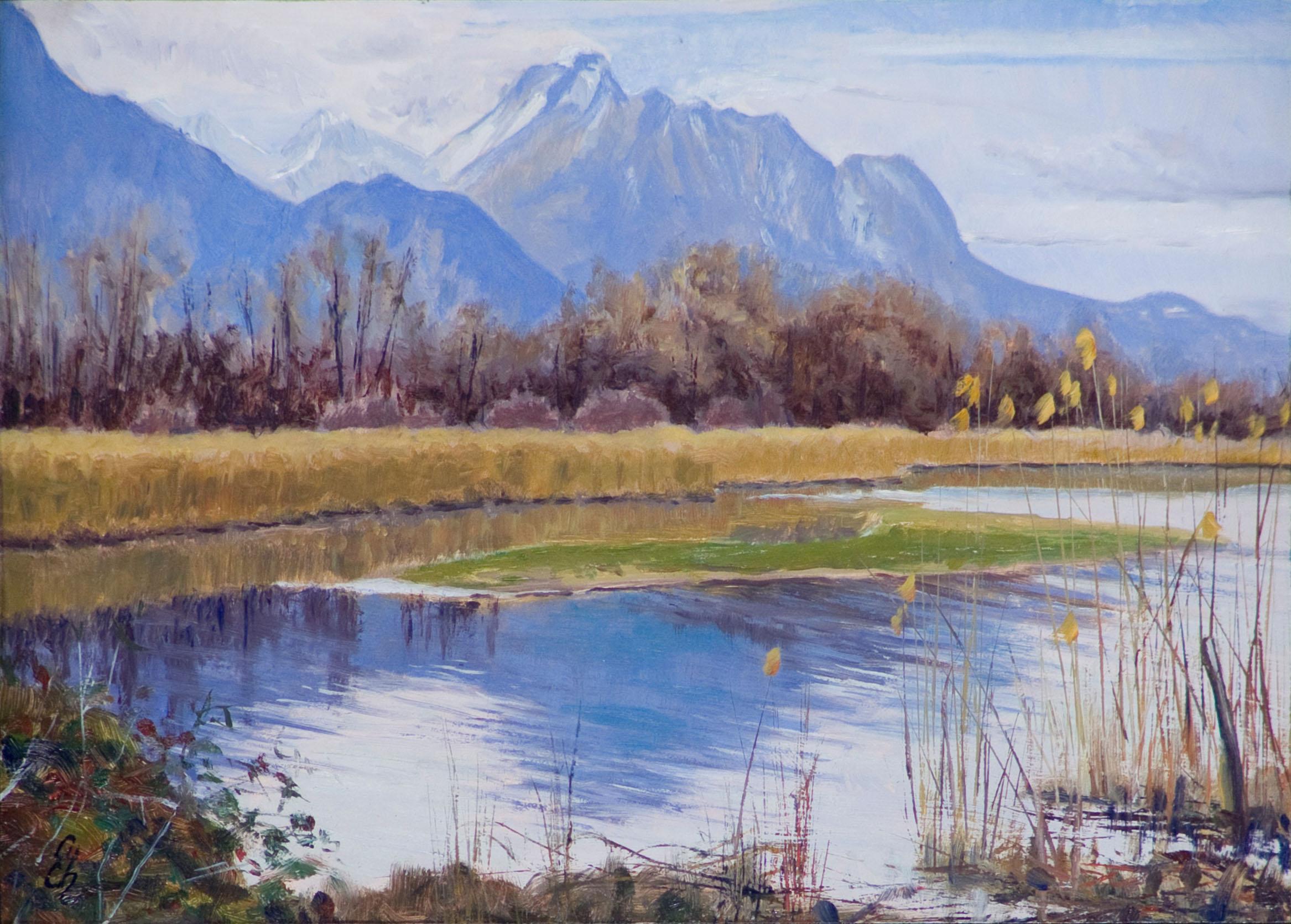 Lac Léman à Villeneuve (Grangettes) Huile sur panneau contreplaqué peuplier 25 x 35 cm Cyril de Chambrier