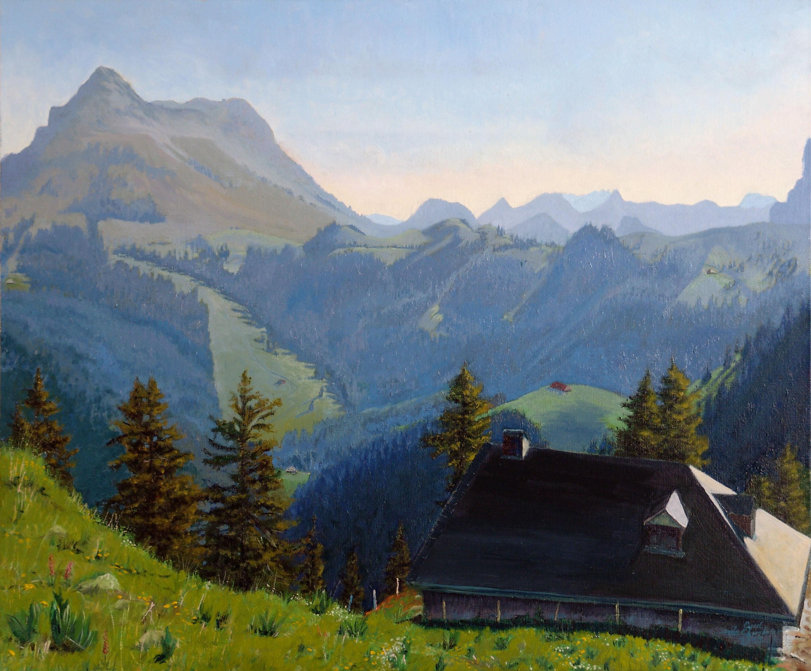 Le Moléson depuis le Pralet Huile sur toile 60 x 73 cm Cyril de Chambrier
