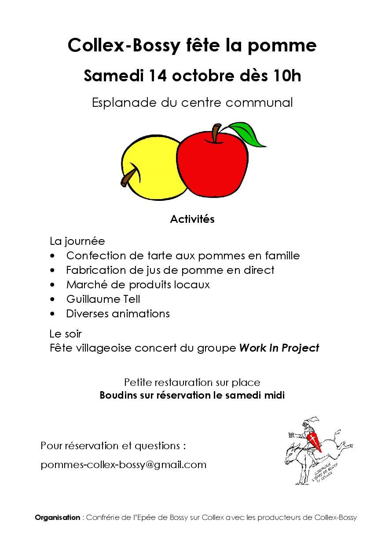Collex-Bossy fête la pomme le samedi 14 octobre