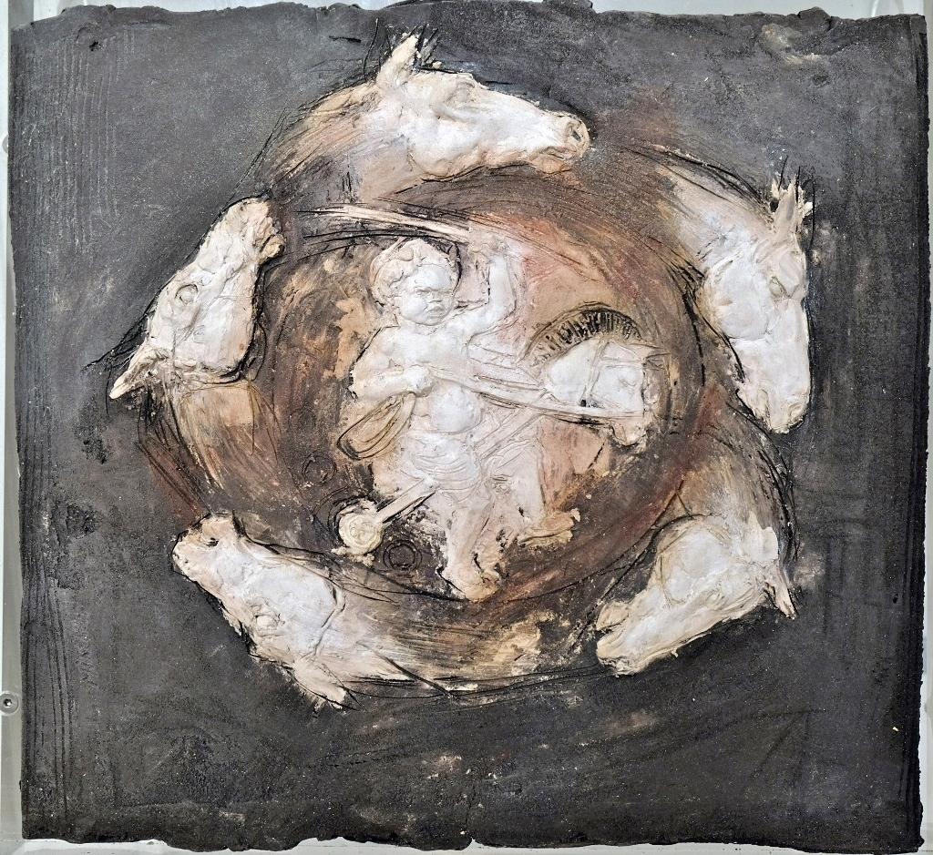 Au galop  Bas relief Terres cuites mélangées blanche et noire  H 33 x L 30 cm