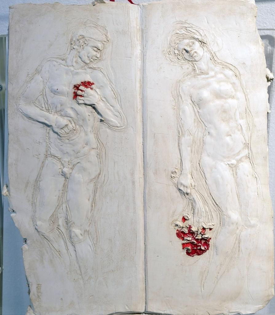 Déclaration d'Amour  Bas relief Terre cuite blanche avec émail H 36 x L 30 cm