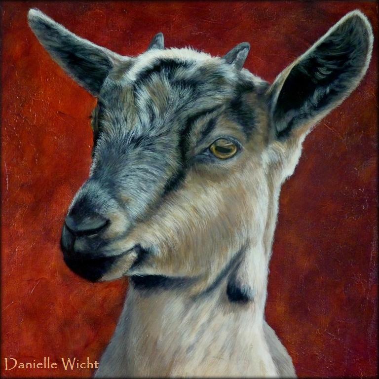 Cabri botté  Acrylique sur toile de lin  42 x 42 cm  Danielle Wicht