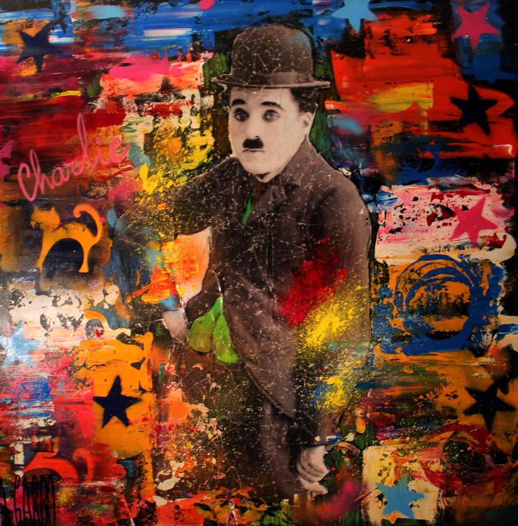 Charlie Chaplin  Technique mixte sur toile  100 x 100 cm  Angelo Garbo