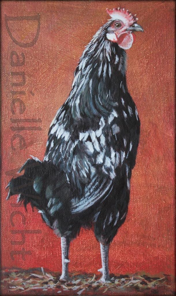 Coq  Acrylique sur carton entoillé 25 x 15 cm (encadré 30 x 20 cm) Danielle Wicht