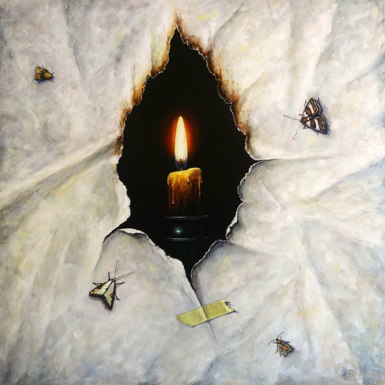 Entre deux réalités  Huile sur toile  50 x 50 cm (encadré 55 x 55 cm) Iskren Semkov