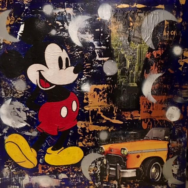 Mickey sous la lune Technique mixte sur toile 100 x 100 cm Angelo Garbo