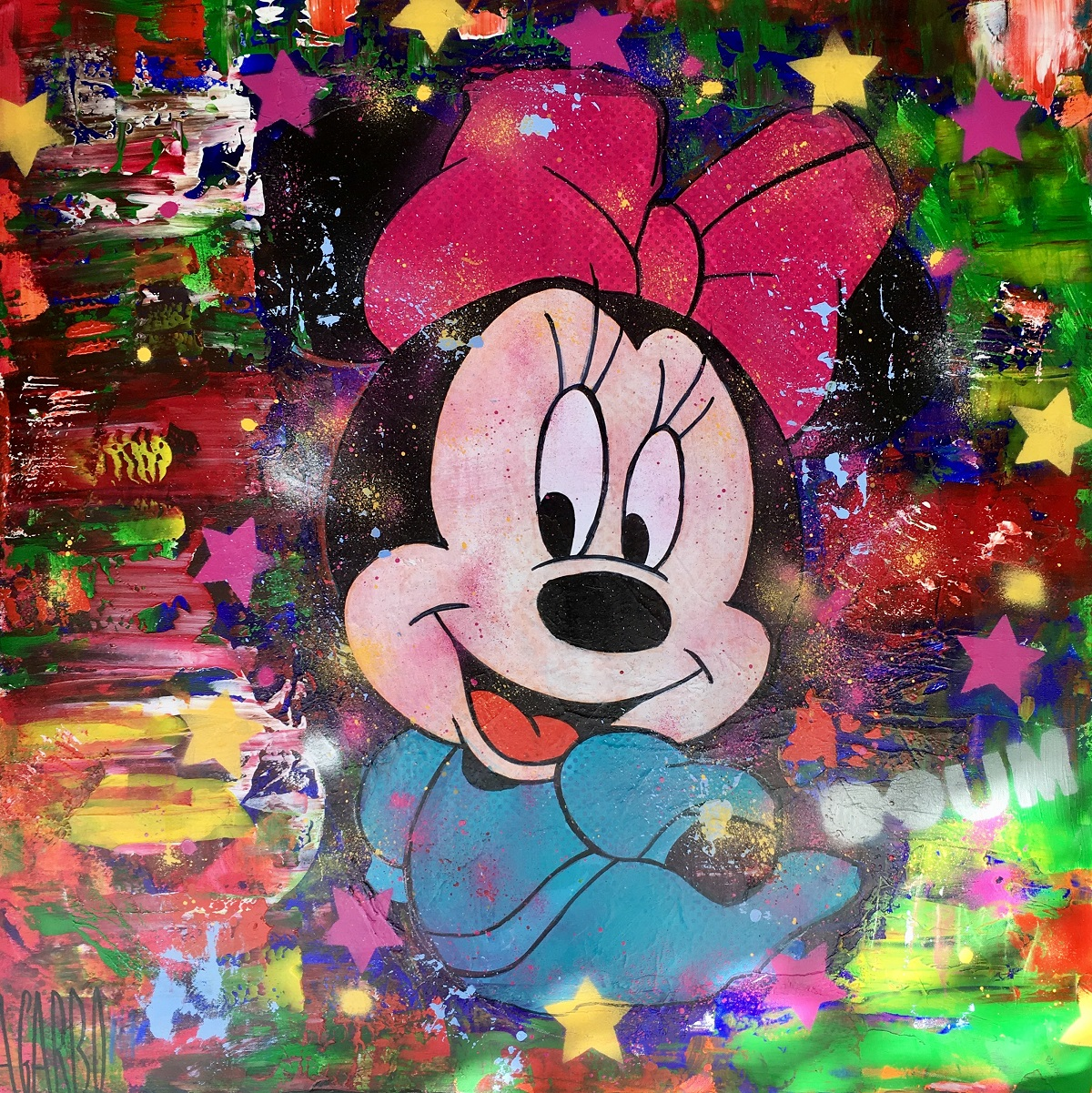 Minnie Technique mixte sur toile 100 x 100 cm Angelo Garbo