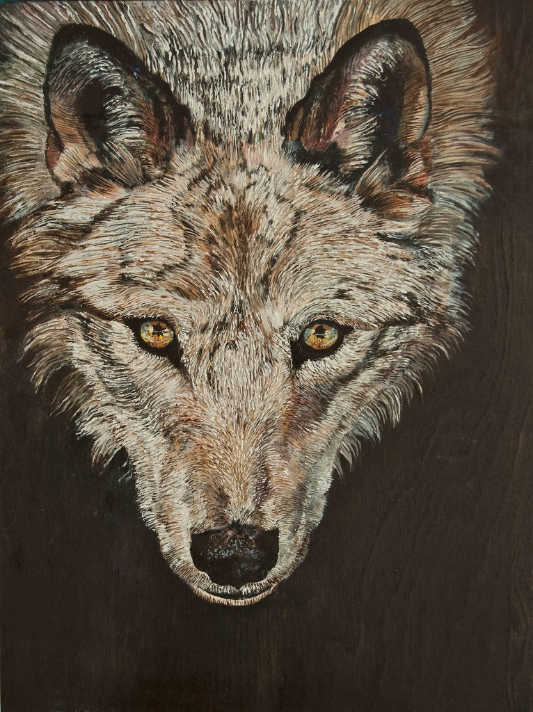 Portrait de loup Huile  sur bois  40 x 30 cm Gisèle Bryers