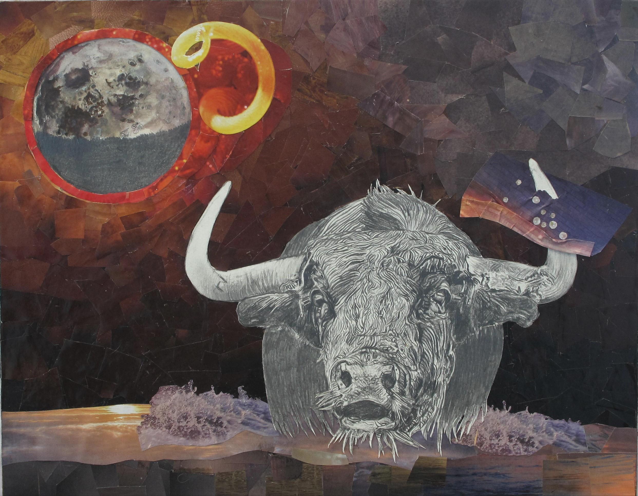 Taureau  Série des signes du zodiaque Technique mixte sur bois 30 x 35 cm Gisèle Bryers