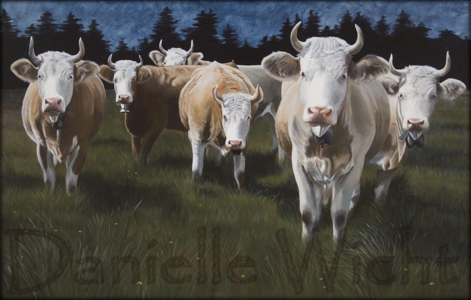 Vaches Simmental à l'orée de la foret  Huile sur toile de lin  90 x 140 cm  Danielle Wicht