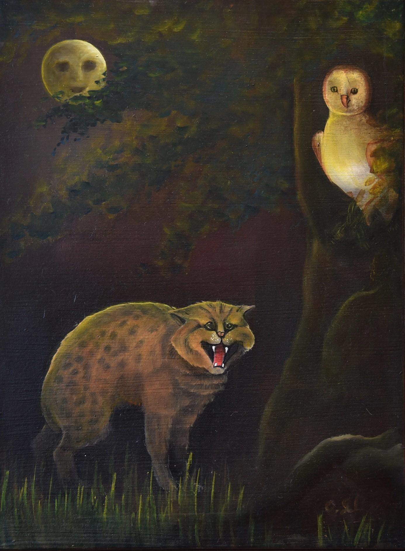 Chat à la lune Huile sur toile 40 x 30 cm Olivia Sellier