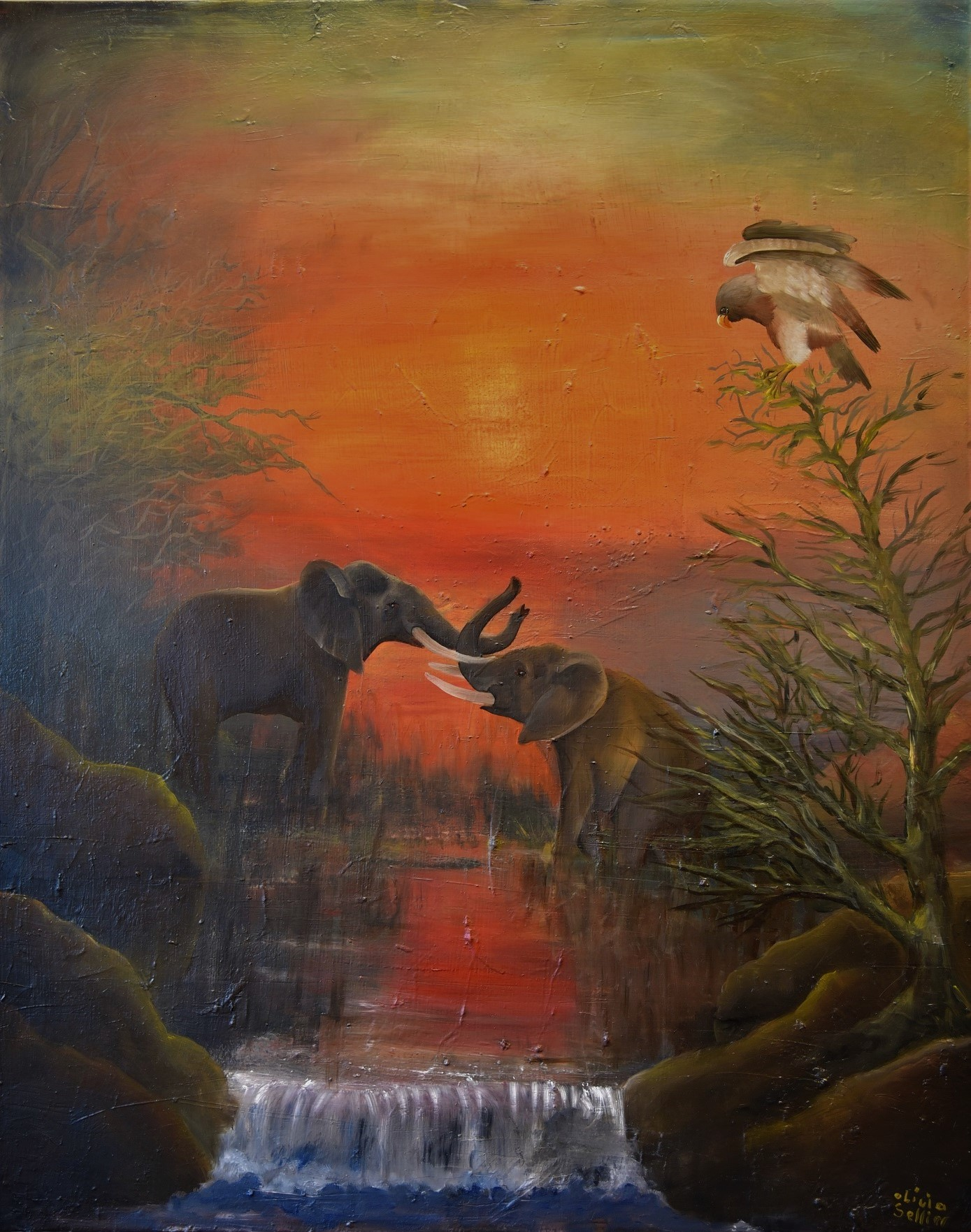 Crépuscule des éléphants Huile sur toile 92 x 72 cm Olivia Sellier