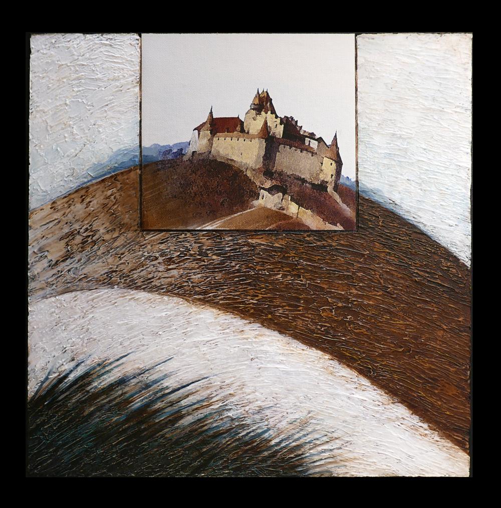 De la fenêtre IV Acrylique et collage sur support entoilé 40 x 40 cm Jean Perrin