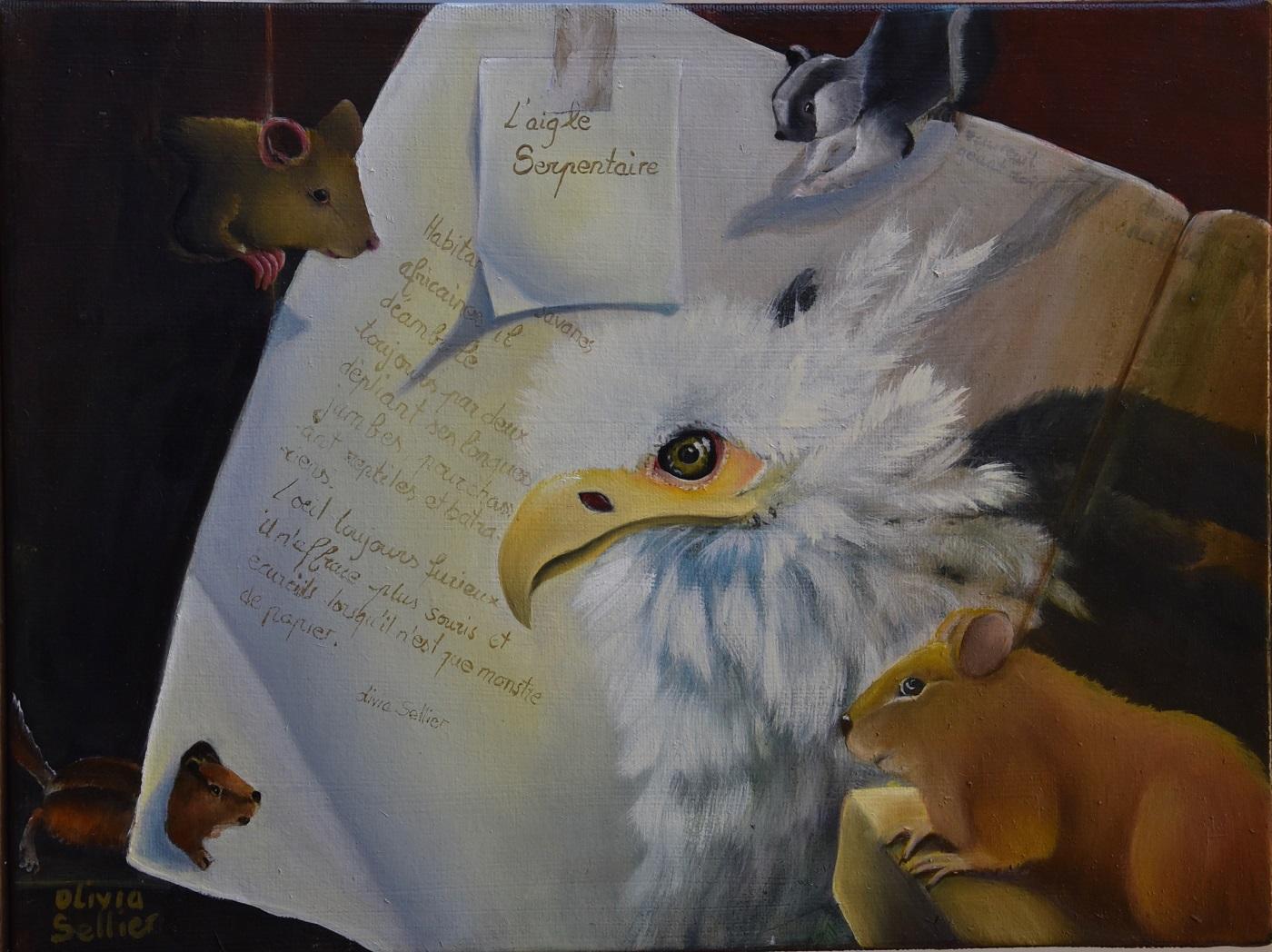 L'aigle de papier Huile sur toile 30 x 40 cm Olivia Sellier