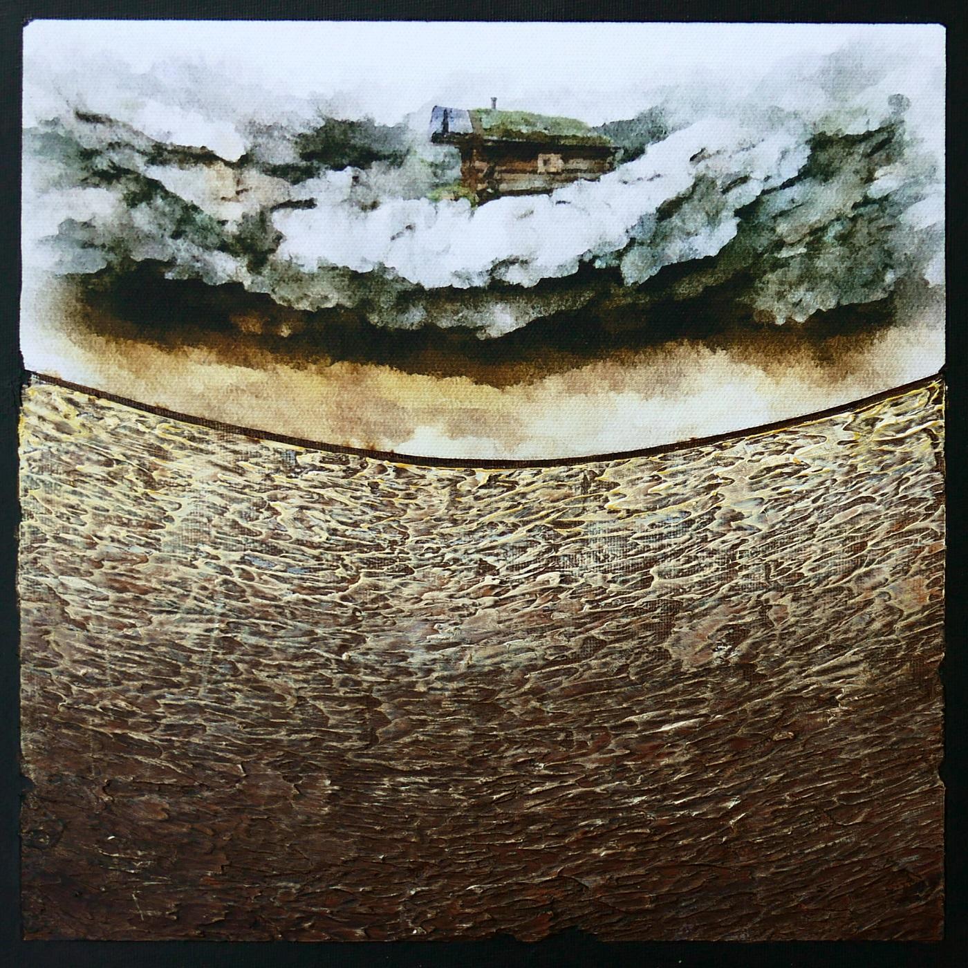 Le rocher I Acrylique et collage sur support entoilé 30 x 30 cm Jean Perrin
