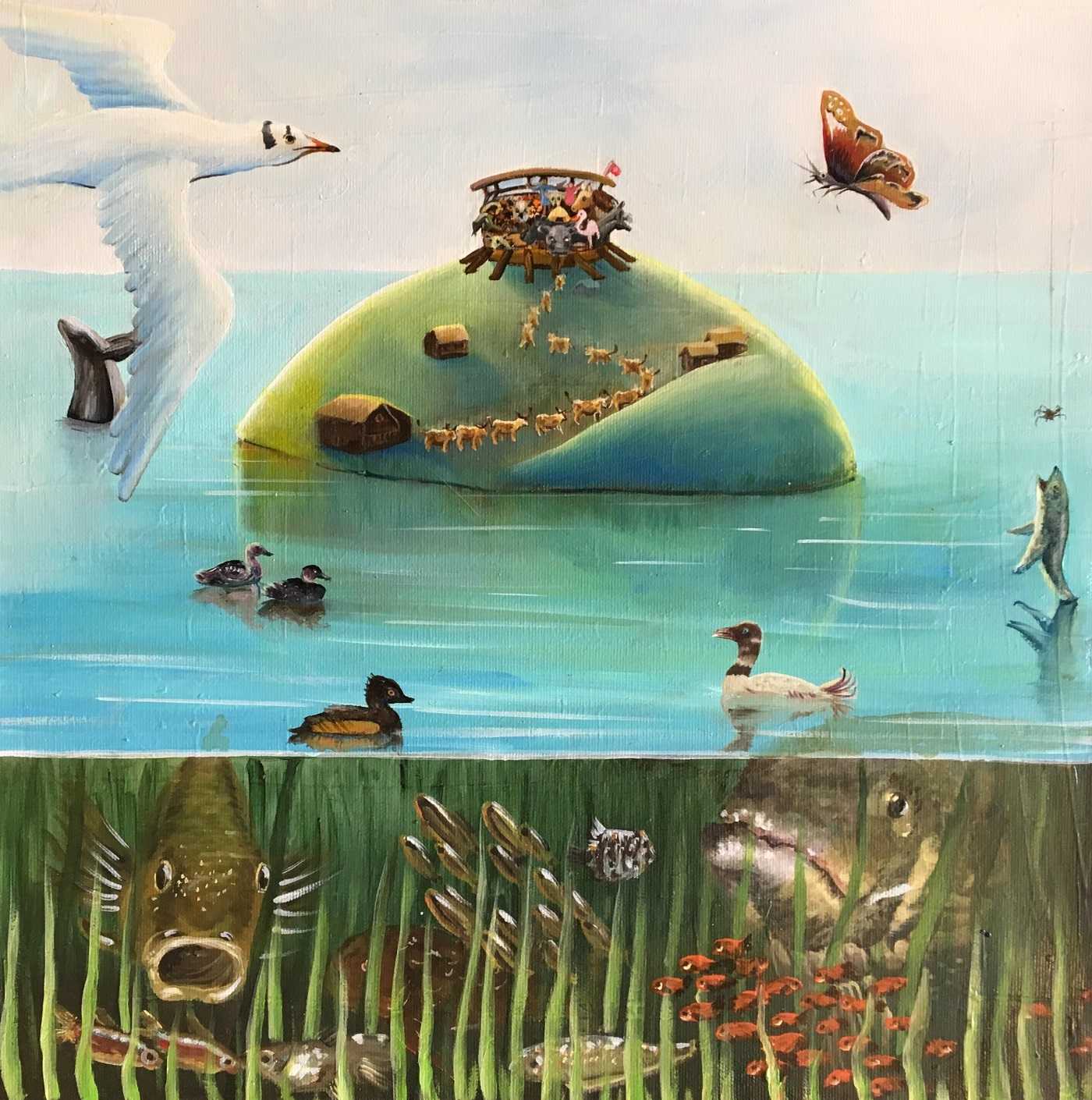 Poya Helvétique Huile sur toile 40 x 40 cm Olivia Sellier