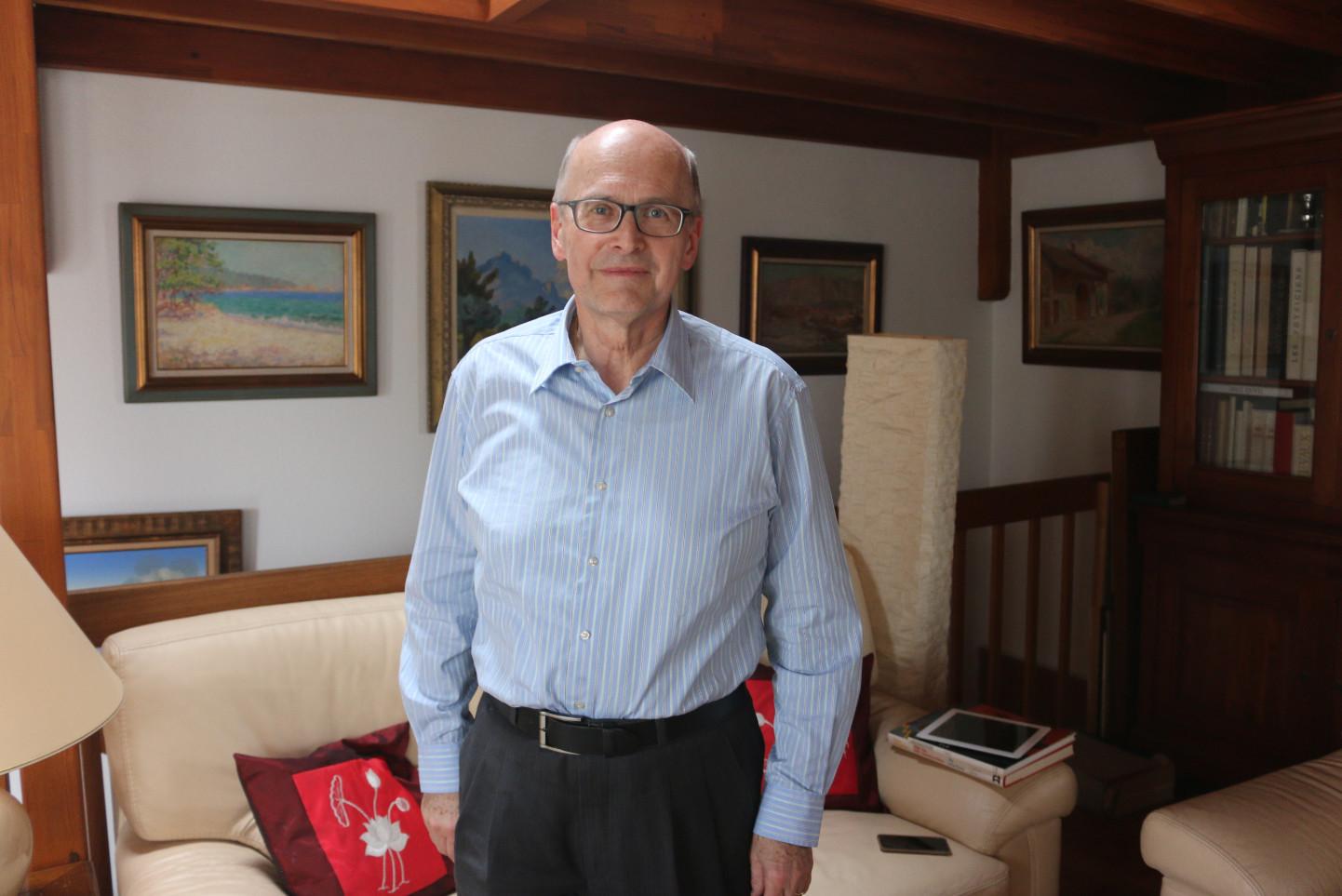 Jean-Charles Giroud ancien directeur de la bibliothèque de Genève. © T.Wicky