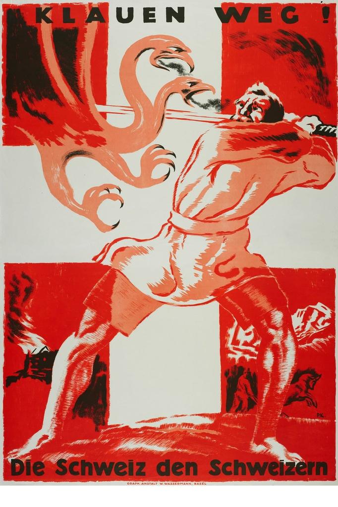 « Bas les pattes ! La Suisse aux Suisses » Paul Kammüller, 1919 Genève BGE