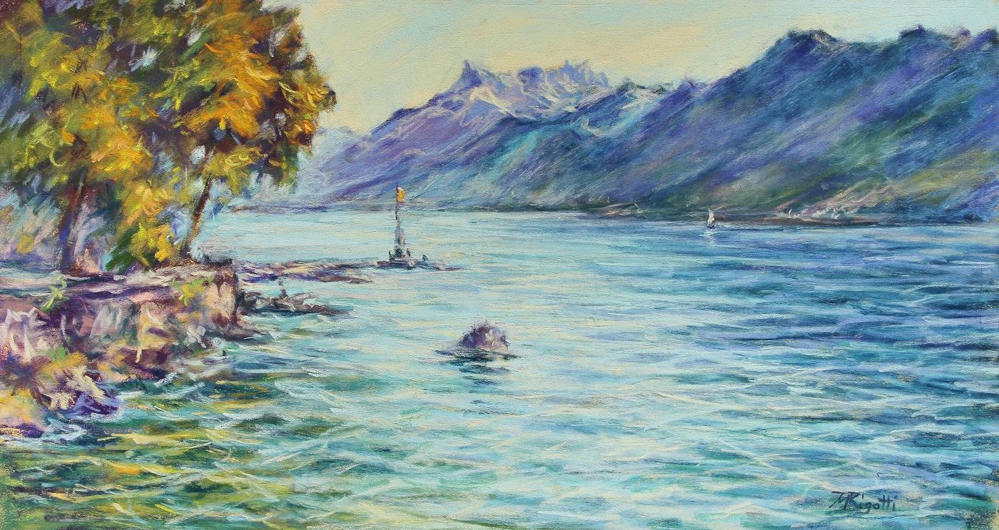 Appel du phare Pastel sec sur papier  20 x 40 cm (encadré 42 x 60 cm) Maria Rigotti