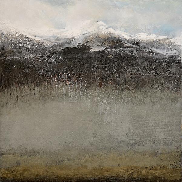 Au bord de l'eau jusqu'au ciel là-haut Technique mixte sur toile  80 x 80 cm   Christine Zwicky-Lehmann