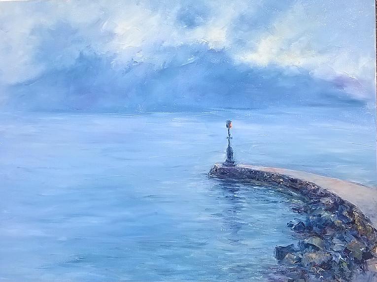 La jetée dans la brume du Léman Huile sur toile 60 x 80 cm Maria Rigotti