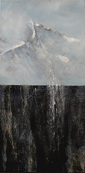 La montagne et sa pierre Haut de Cry  Technique mixte sur toile  80 x 40 cm   Christine Zwicky-Lehmann