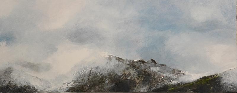 Les sommets  Technique mixte sur papier marouflé sur bois 40 x 100 cm Christine Zwicky-Lehmann