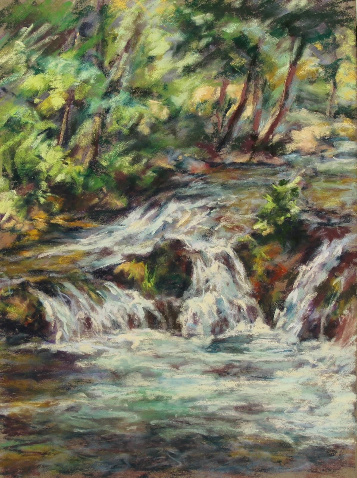 Petite cascade Pastel sec sur papier 40 x 30 cm (encadré 50 x 40 cm) Maria Rigotti