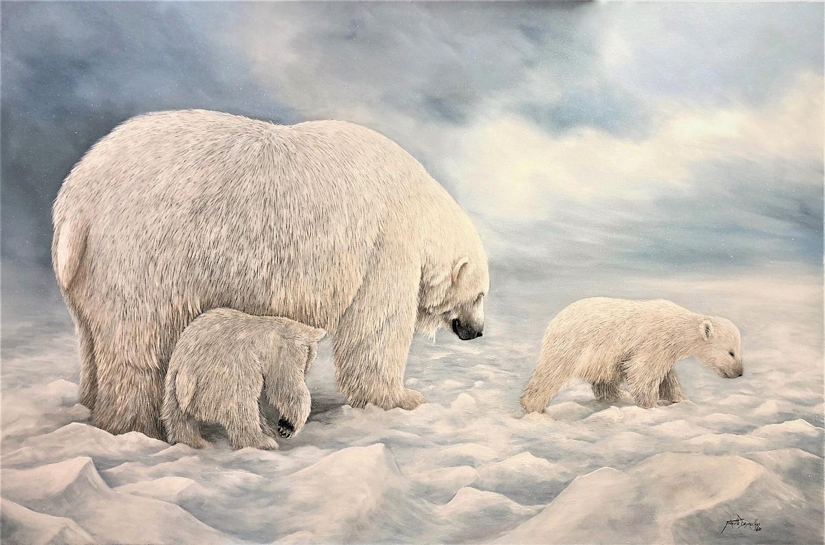 Promenade en famille Huile sur toile  80 x 120 cm Mireille Desroches - Copie