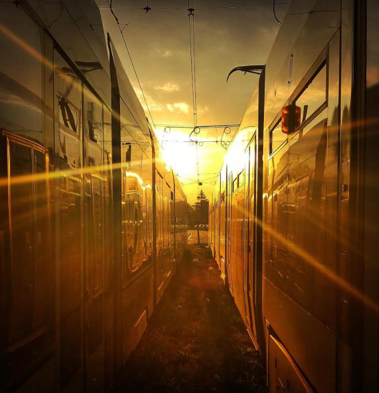 Terminus de la ligne 14 (P+R Bernex) au petit matin.© Mathias Deshusses