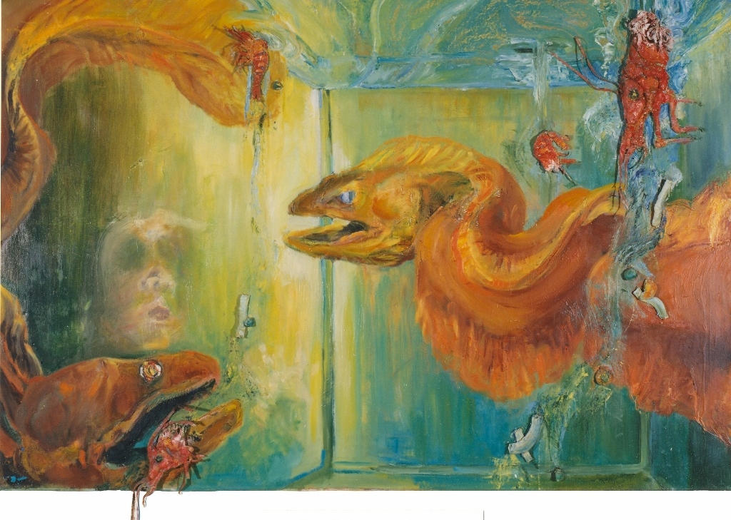 Au restaurant Chinois 3D-Huile sur toile de lin 95 x 145 x 5 cm  Gisèle Bryers