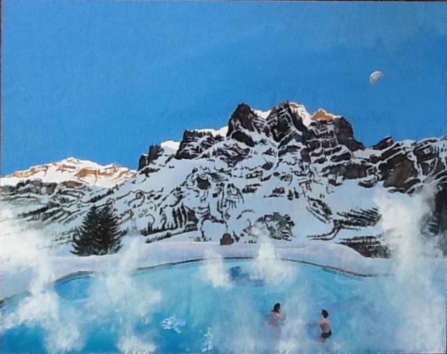 Bains thermaux à Loèche-les-Bains  Gouache sur bois  28 x 35,5 cm  Gisèle Bryers