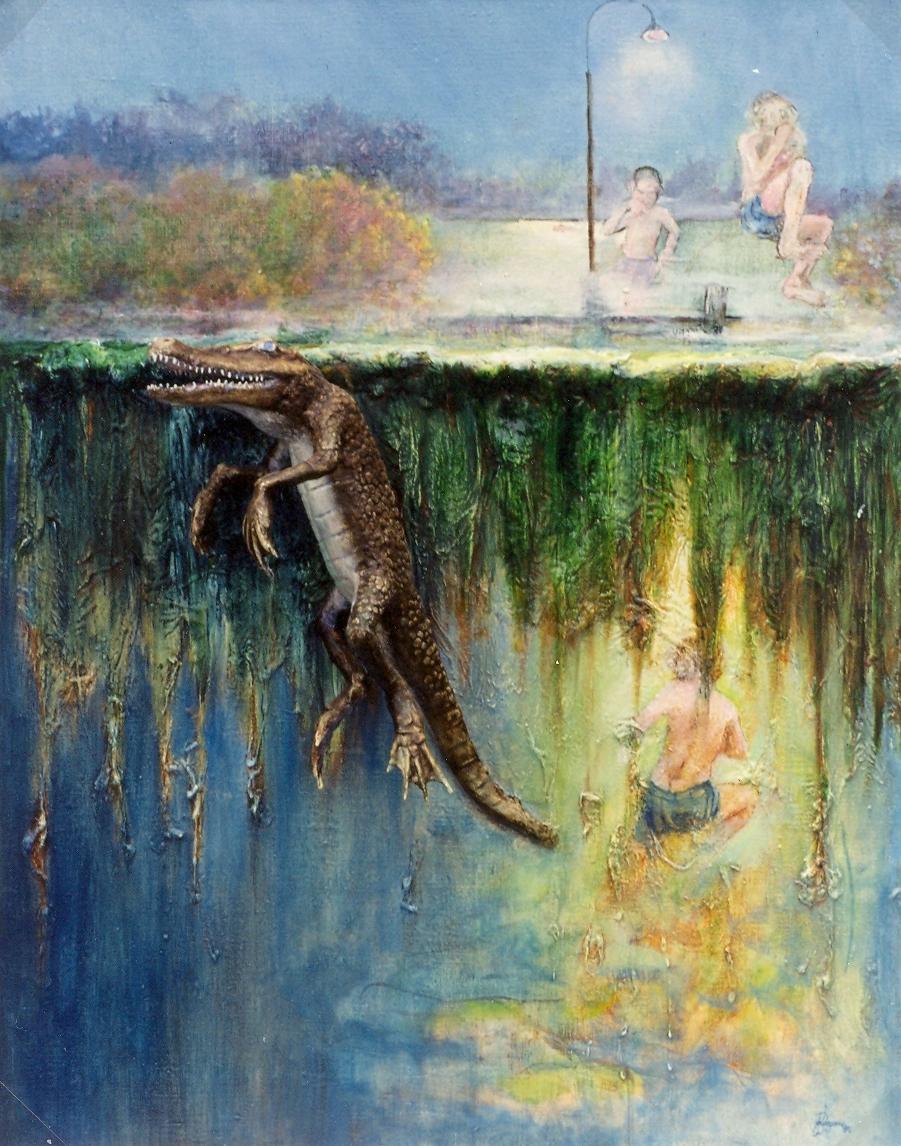 Catfish Bayou  3D-Huile sur toile de lin 65 x 50 x 11 cm  L'alligator est en pâte de bois fixé par une sructure métallique Gisèle Bryers